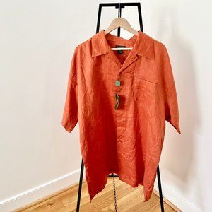 Vintage Linen Oversized Button Up tunic length